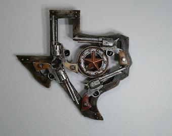 Texas Plaque With Pistols