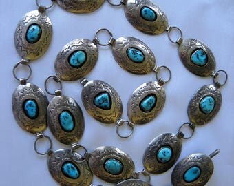 Vintage Navajo Turquoise Nugget Sterling  Silver Link Concho Belt 155 Grams