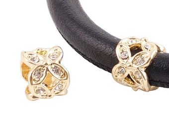 LM1830G ~  Gold and Crystal Butterfly Cross Charm for Wrap Charm Bracelets