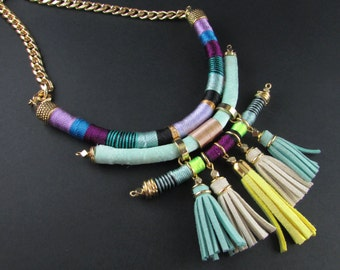 Statement tribal necklace trendy necklace tassels necklace colorful necklace fringe necklace fabric necklace tribal necklace