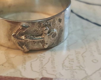 Sterling silver anchor band ring