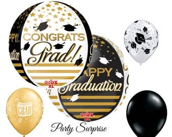 Graduation Balloons Congratulations Graduation Party Balloon Package High School College Graduation Party Decoration Balloons Black Gold