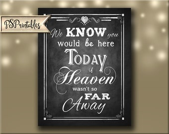 We know You Would be Here Today if Heaven wasn't so Far Away Vertical Wedding sign - Printable File - Rustic Collection