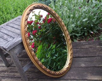 Vintage Gold Gesso Ornate Oval Mirror/Carolina Mirror Company