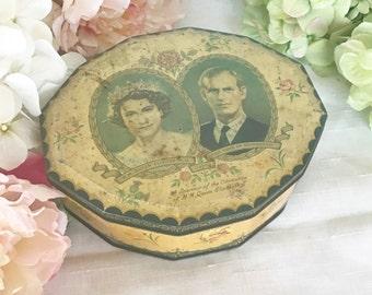Mid Century 1953 Coronation Tin litho box, Queen Elizabeth II, Prince Philip Duke of Edinburgh, England, decor, toffee confections