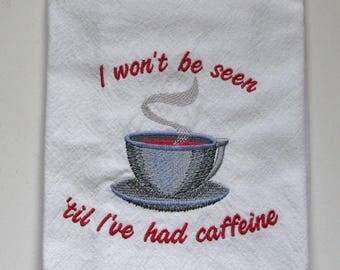 Embroidered Coffee Tea Towel, Dish Towel, Kitchen Towel, Chef Towel.