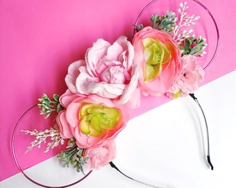 Pink Wire and Pastel Pink Flower Crown Minnie Mouse Ears Headband