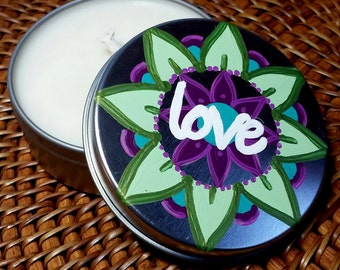 Candle Tin - All Natural Soy Wax 3 oz. Candle with Original Artwork Intention - Love