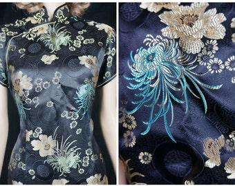 50's Black Silk Chinese Wiggle Dress / Vintage Silk Cheongsam Cocktail Dress / Black Silk Dragon Dress / 50s Chinese Silk Black Evening gown