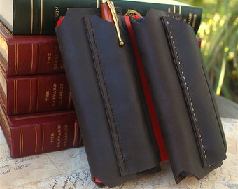 Handmade Leather Notebook cover with pen sleeve, fits Field Notes, Moleskine 3.5x5.5, pen case, slide-in pen sleeve, pencil sleeve