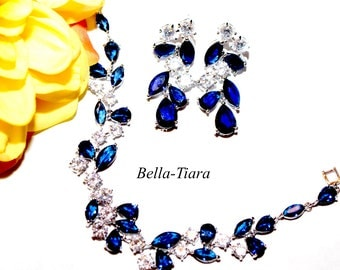 blue crystal earrings, navy bridal earrings, blue earrings, sapphire blue earrings, blue drop earrings, navy blue mother of bride jewelry