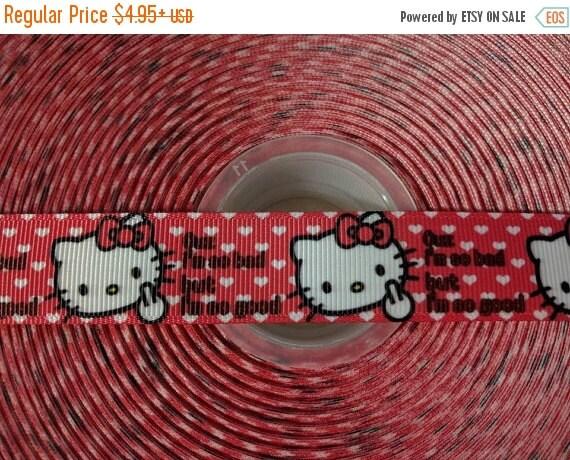 "HOT DEAL Hello Bad Kitty 7/8"" Grosgrain Hair Bow Craft Ribbon 782959"