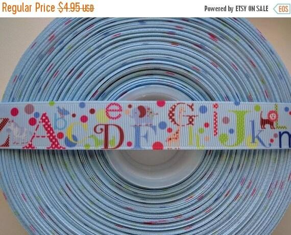 """HOT DEAL ABC Alphabet Animals Nursery 7/8"""" 22mm Grosgrain Hair Bow Craft Ribbon 782617"""