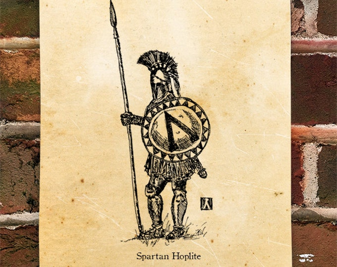 "KillerBeeMoto: Limited Hand Drawn Print of ""Spartan Hoplite"" Print 1 of 100"