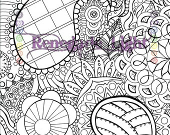 Zentangle Coloring Page Digital Download Zen Meditation
