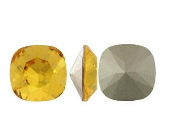 4470 SUNFLOWER 12mm Swarovski Crystal Fancy Stone Cushion Cut, Bright Yellow (Rare)