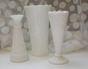 HD 10  Set Of Three Milk Glass Vases