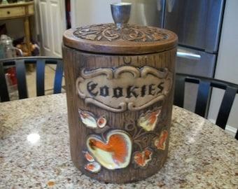 Treasure Craft Faux Wood Brown Cookie Jar