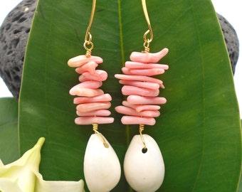 Shell Earrings, Pink Coral Earrings, Beach Jewelry, Sea Shell Earrings, Puka Shell, Beach Wedding, Silver Earrings Dangle Earrings