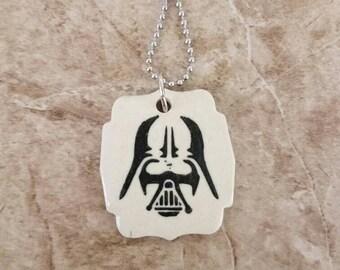 Star Wars Darth Vader Imprinted Porcelain Pendant Necklace Handmade Pottery