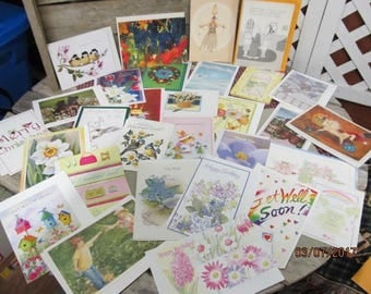 Huge Lot Vintage Note Cards Greeting Cards Assortment over 25 vintage cards Hallmark Gibson Kathy & more