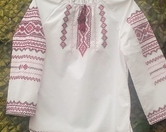 Free shipping! HAND EMBROIDERY!  Ukrainian embroidered blouse White shirt Українська Вишиванка