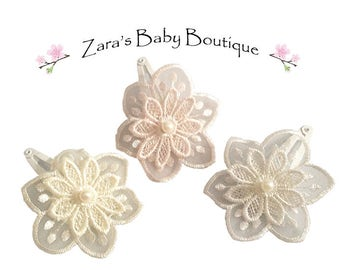 Lace Floral Hair Clips * Wedding Hair Clips * White * Ivory * Blush Pink * Flower Hair Clips * Flower Girl Hair Clips * Zara's Baby Boutique
