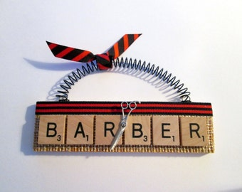 Barber Scrabble Tile Ornament