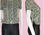 Vintage 90s Blouse Snakeskin Print Sequins Top Size Medium