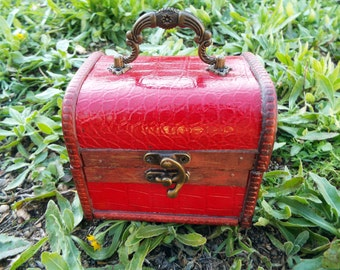 Box Vintage Handmade Wooden Genuine Red Leather Treasure Chest Jewelry Trinket Antique Vintage Gothic