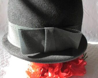 Vintage Black Derby Hat Casual Retro Hipster Mod Boho Steampunk    Bohomian 1960's hat Audrey Hepburn Twiggy Ali McGraw WhenRosesBloom