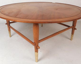 Round Mid-Century Modern Walnut Coffee Table by Lane Furniture