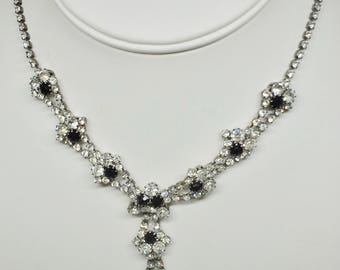 Vintage from 1950's  necklace clear and black rhinestones on silver plated