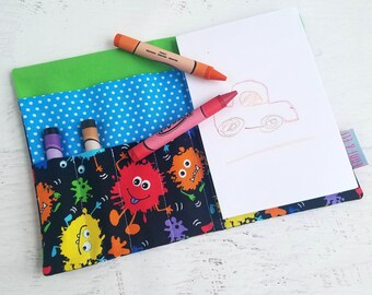 Little Monster Crayon Roll Up | Crayon Wallet Pouch | Personalized Crayon Holder | Crayon Organizer | Crayon Book | Art Pad for Kids