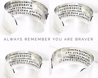 Personalized Bracelet | Personalize a secret message | Floral Design | Large band | You are braver than you believe (C071)
