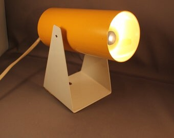 Original 70s Vintage Cannon Spotlight Wall or Desk Lamp Light Tube Sconce Yellow & White Geometric Space Age Staff Honsel SciFi 1970s