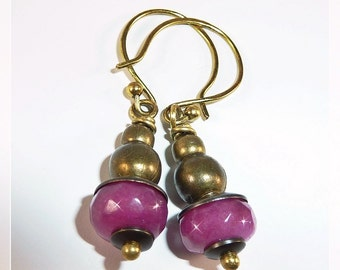 Ruby Earrings bronze, Precious Stone Earrings, Must-Have, Unique, Vintage Jewelry from natural Rubies, Ladies Earrings, Great Gift Idea