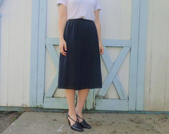 Vintage Black Pleat Skirt, Midi/A-Line/Silky/Flowy, Small