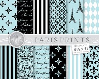 BLUE PARIS Digital Paper 8 1 2 X 11 Printable Paris Patterns Pattern
