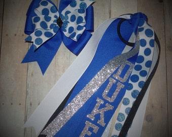 Duke Blue Devils~Boutique Bow & Pony O Set~Glitter~Streamer~Sugar Dot~Pinwheel~