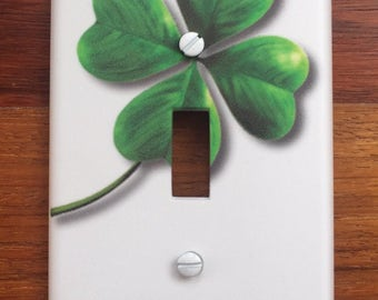 Irish Shamrock Clover St. Patricks Light switch cover PERSONALIZED