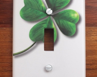 Irish St. Patricks Light switch plate wall cover // Shamrock clover light // PERSONALIZED