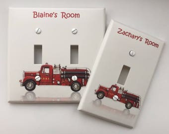 Vintage Red Fire Truck Engine FDNY light switch cover Personalized // SAME Day SHIPPING**