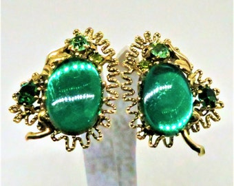 Green Earrings - Vintage, Made in Austria, Gold Tone, Green Cabochons and Rhinestones, Clip on