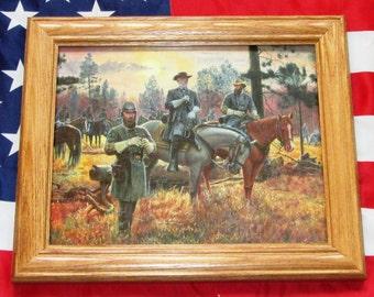 Civil War Painting. Mort Kunstler, CONFEDERATE SUNSET. Lee, Jackson, Longstreet