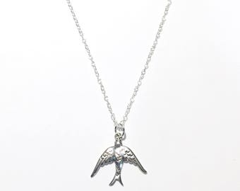 Sterling Silver Vintage Bird Swallow Necklace