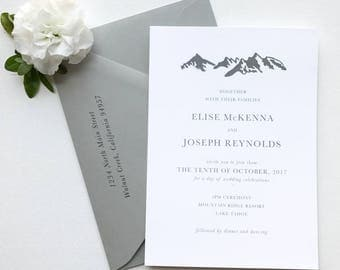Mountain Minimalist Wedding Invitation Suite Sample or Deposit / Classic, Minimalist, Outdoor Wedding / #1125
