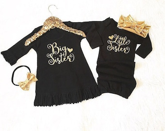 Big Sister Little Sister set  (dress and gown only/headbands separate) coming home outfit, birth announce, newborn outfit.