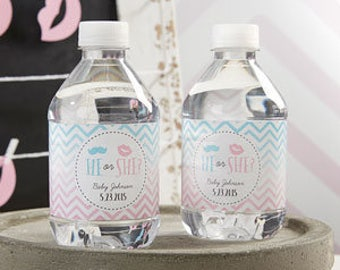 He or She Beau or Bow Gender Reveal Water Bottle Labels (Please READ Before Ordering)