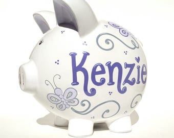 "Butterflies Personalized Piggy Bank Ceramic | Hand-painted | Violet | Lilac | Gray - Large Size: 8"" x 7.5"" x 7"" 